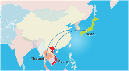 through our vietnam thailand japan 3 countries triangular trade system we will provide the best services for customers in japan and southeast asia